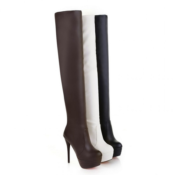 Soft Leather Boots Platform Round Toe Thin High Heels Thigh High Over The Knee Boots PU Ladies Over The Knee Black Shoes