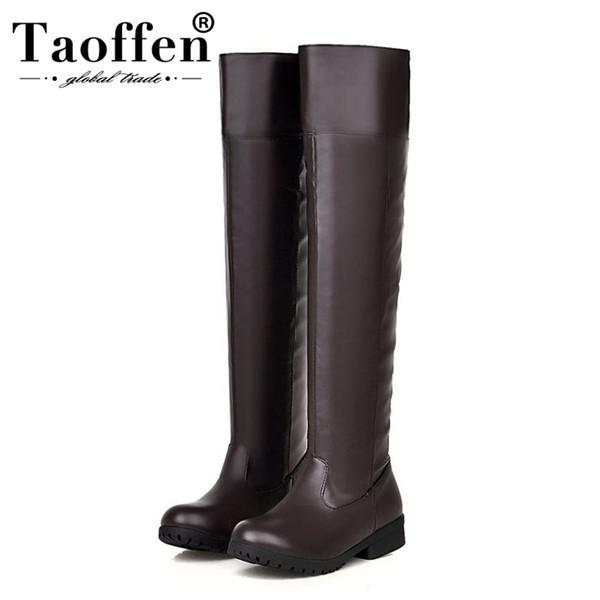 Taoffen Artı Boyutu 34-48 Pu Deri Kadın Diz Üzerinde çizmeler Yuvarlak Toe Flats Ayakkabı Üzerinde Kayma Kış Sıcak Kürk Kadın Ayakkabı