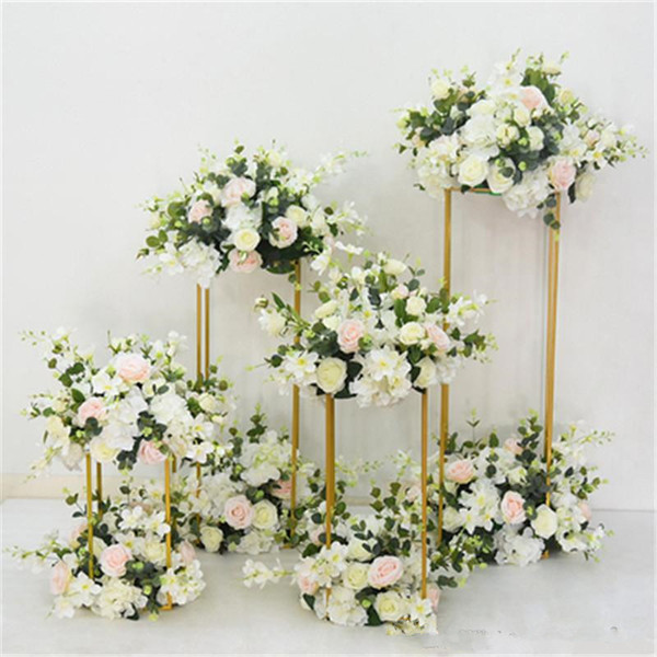 Rectangular Road Lead Flower Stand Candle Holder Road Lead Table Centerpieces Metal Gold Stand Pillar Candlestick For Wedding Candelabra