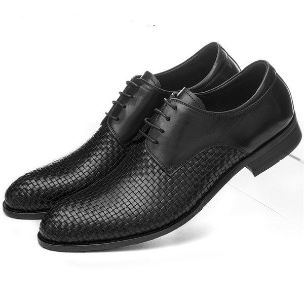 Large Size EUR45 Woven Design Mens Summer Dress Shoes Genuine Leather Wedding Shoes Formal Male Business Shoes