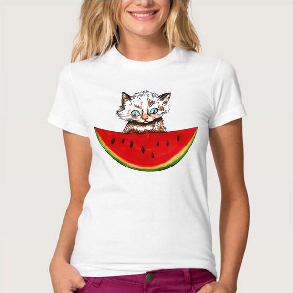 New Summer Super Cute Cat And Watermelon Print T-shirt Women's Short Sleeve Women T-Shirt High Quality Casual Tops Novelty Tees