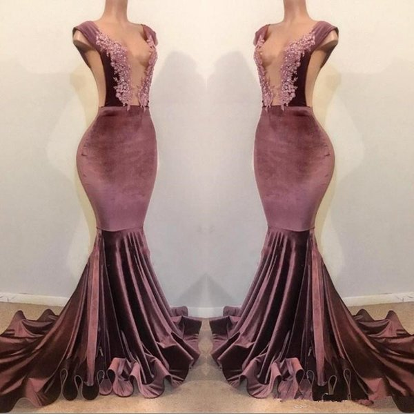 Velvet Lace Beaded Mermaid Prom Dresses 2019 Charming Sexy V Neck Backless Sheath Formal Party Gown Evening Pageant Dresses