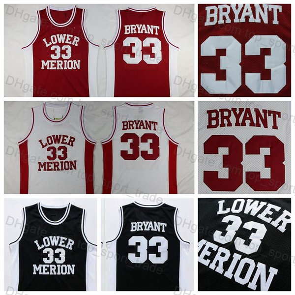 quality design 9e2ec efac2 2019 Lower Merion #33 Kobe Bryant Jersey High School Basketball Jerseys Red  White Black Men'S Kobe Bryant Basketball Jerseys Stitched Shirts From ...