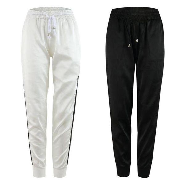 Kadınlar Casual Pantolon Yan Çizgili Sweatpants İlkbahar İpli Spor