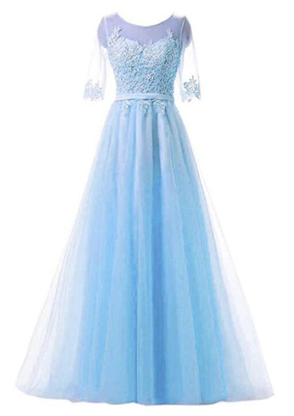 Light Sky Blue Floor-length Bridesmaid Dresses Tulle Maid of Honor With Applique A-line Half Sleeves Honor Bridal Gowns For Garden