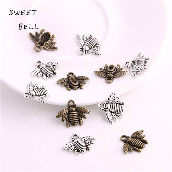 SWEET BELL 150pcs 16*21mm Zinc Alloy Two color Bee charms Lovely Bee Honey bee Charm Pendant Fit Diy Jewelry Making 3C448