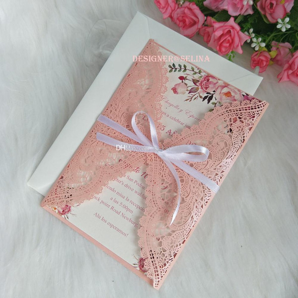 Pink Lace Floral Invitations With White Ribbon For Wedding Bridal Shower Engagement Quinceanera 20 Color Diy Birthday Dinner Invites Homemade Wedding