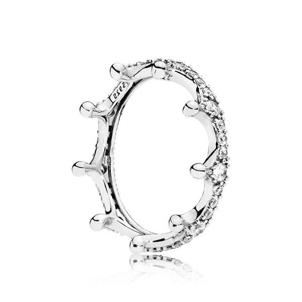 Anelli di nozze corona d'argento 925 per le donne Anelli di principessa stile pandora anelli di fidanzamento tiara corona per la signora con bagerlin originale