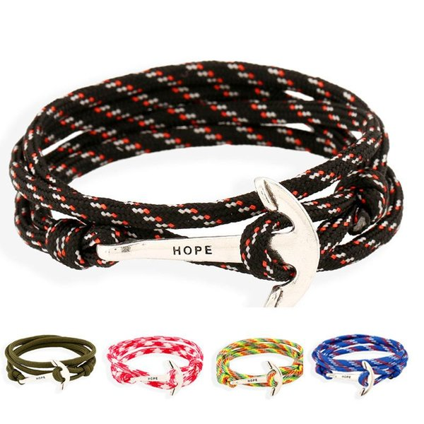 Multi layer charm bracelets for unisex Fashion nautical navy wind anchor bracelets braided nylon bracelets free shipping