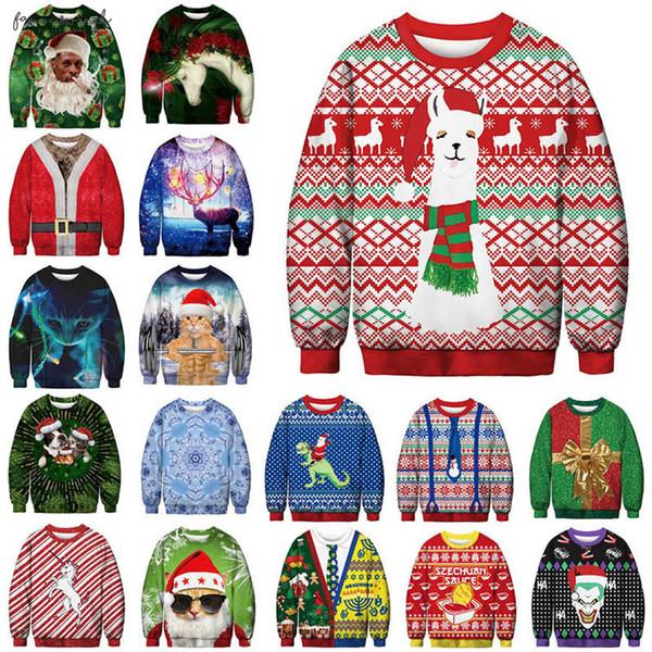 men women 2019 christmas sweater vacation ugly santa elf funny christmas hair jumper autumn winter  clothing