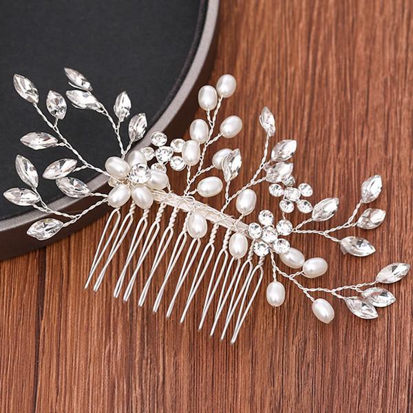 Accesorios para el cabello bodas de plata cristalina nupcial del peine del pelo de novia Tiara hecha a mano de la perla del Rhinestone Peine joyas de cabeza Adornos