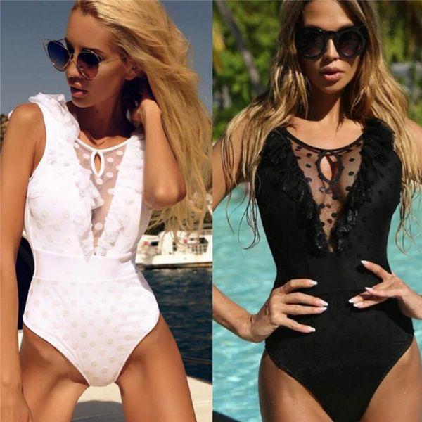 New Sexy Bikinis Deep V-neck Swimwear High Quality Lotus Leaf Mesh Swimsuit Women Bikini Push Up Brazilian Bikini
