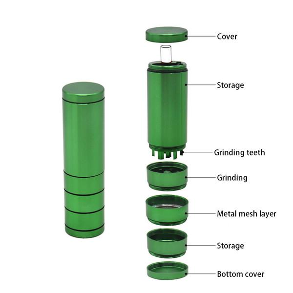 Automatico di espulsione Dugout Grinder Portasigarette in metallo Alluminio Tasca portasigarette Composite Scatola di sigarette Secco Herb Hand Muller