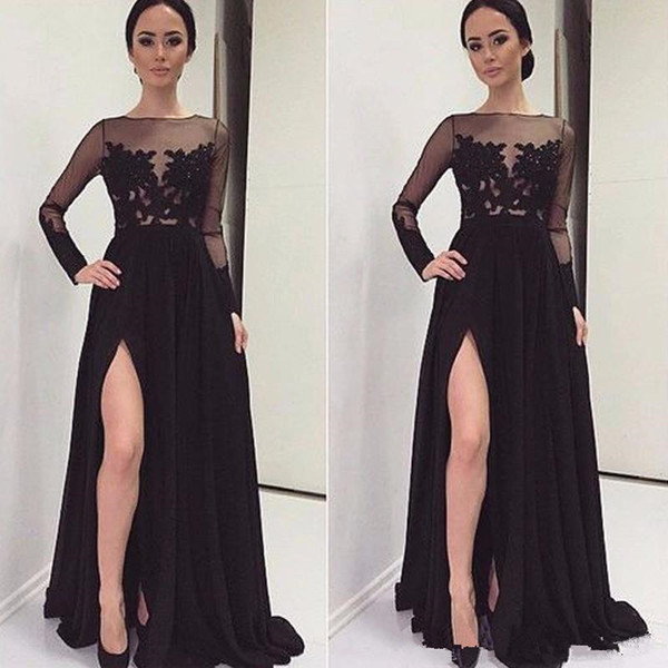 2019 Sexy Prom Dresses A-line Open Leg Evening Dresses With Long Sleeve Dubai Party Gowns Appliques Vintage Formal Cocktail Gowns
