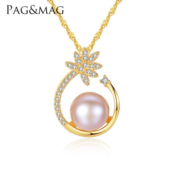 PAG&MAG 925 Sterling Silver CZ Flower Necklace,Fine Pearl Pendant Jewelry Women Bohemia 18K Gold Color Chain For Love, Girl Gift