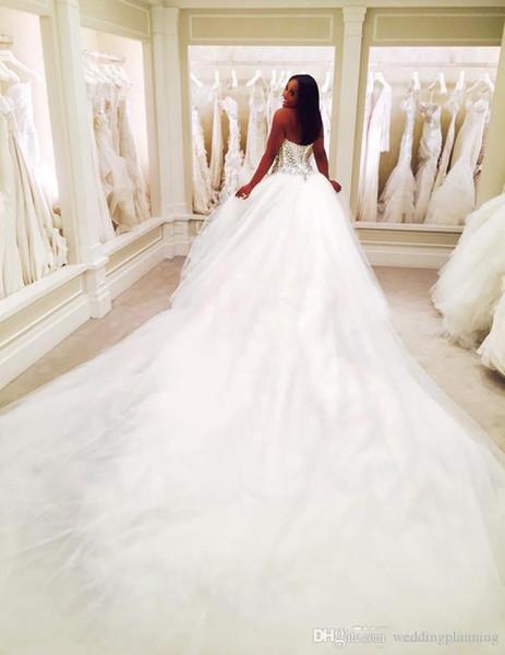 2019 Dubai Nigerian Lace Wedding Dresses Custom Made Plus Size Open back Tulle Puffy Bridal Gowns Arabic Pnina Totnai Wedding Dress