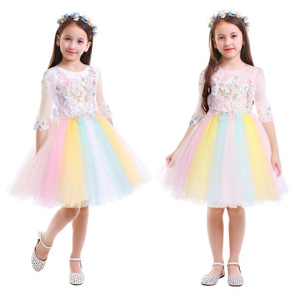 Vestido de arco iris para niñas de moda Vestido de unicornio con cuentas de flores Vestido de fiesta de tul Vestido de princesa Desfile Fiesta de cumpleaños Vestido de niñas para niñosMX190822