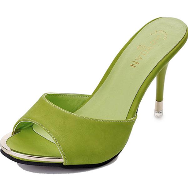Yaz Şeker renkli Ladies'fishmouth Sandalet kadınlar İnce topuklar ve Açık Toes Katır Yüksek Topuklar ile Modaya Yüksek topuklu Terlik