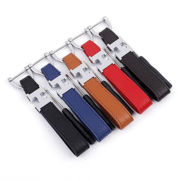 Horsehole Buckle Leather Key Chain avec lettre H mode rétro style clé de voiture accessoires pour hommes mâle