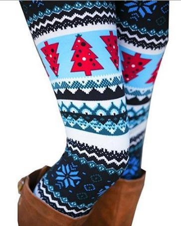 Womens Leggings Autumn Winter Snowflake Graphic Printed Stretchy Leggings Pants with Deer Printing Nine Pants Elastic