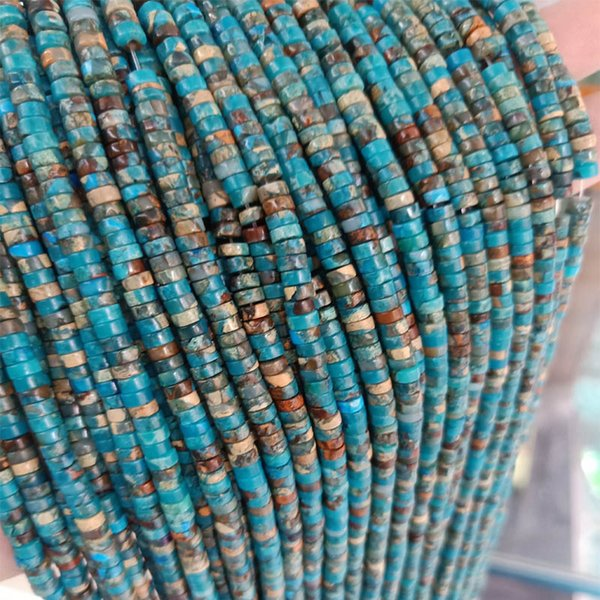 2x4mm Blue Heishi Rondelle Spacer Loose Beads Natural Imperial Jasper Stone Beads DIY For Jewelry Making Strand 15 Inch