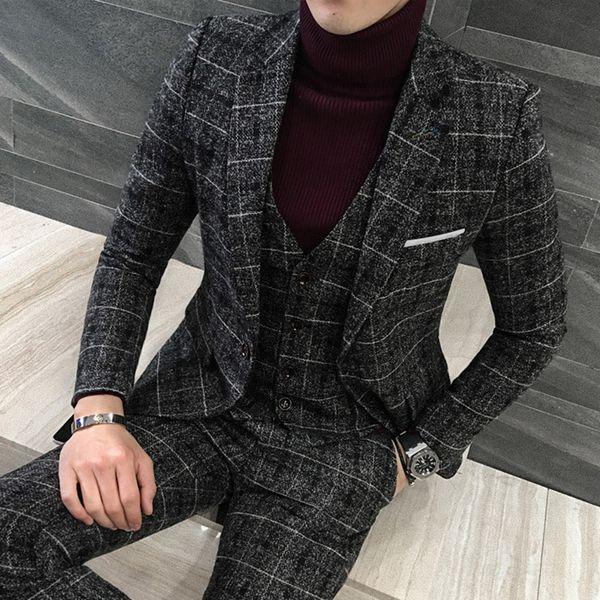 Fashion Business Mens Plaid Suit Large Size 5XL Slim Fit Men's Dress suits Men Blazers with Vest and Pants