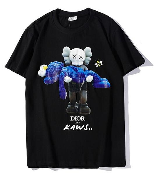 9102 nuovo tee nero di uomini o donne bambola orso abbraccio giocattoli stampa t-shirt con strass manica corta O-Collo T-Shirt all'ingrosso S-XXL
