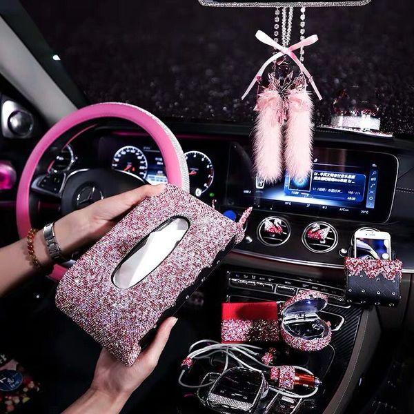acessórios interiores cor-de-rosa de cristal Pedrinhas carregador USB fragrância do perfume bonito kit estiva base de urso arrumar