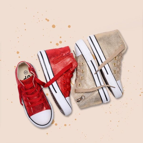 LIULIVERSON~Pearlized Gold Red Children's High Top Sports Shoe for Baby Boys and Girl Canvas Shoe Casual Fashion Sneakers