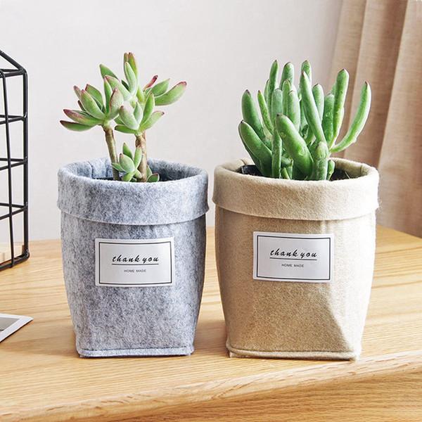 Plantes succulentes Sacs Feutre Fleur De Cactus Cultiver Planters Pot Vide Tissu Non Tissé Maison Panier De Rangement Maison Décoration Vintage HHA674