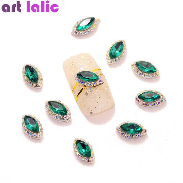 10 Stücke New Olive Green 3D Legierung Nail Art Dekoration Charms Studs Nails Strass Maniküre Werkzeuge TN1578