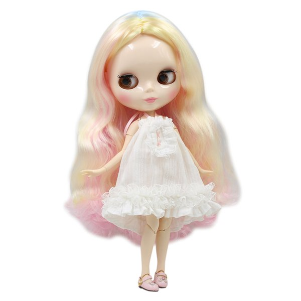 Blyth nude doll 30cm white skin New cute colorful mixed color long curly hair 1/6 JOINT body glossy face ICY DIY toy