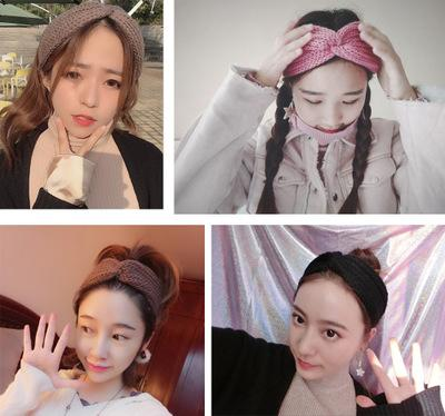 Tricô cruz de lã faixa de cabelo protetor de ouvido headband mão-de malha headband placa plana moda quente outono e inverno acessórios para o cabelo EEA207