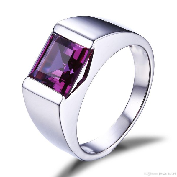 Wholesale Solitaire Fashion Jewelry 925 Sterling Silver Princess Square Amethyst CZ Diamond Gemstones Wedding Men Band Ring Gift Size 8-12