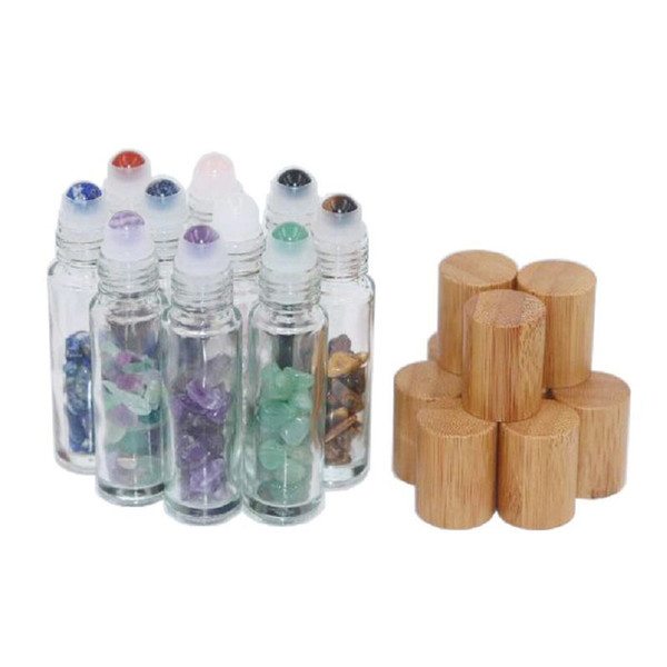 10ml Natural Semiprecious Stones Roll on Bottles Gemstone Essential Oil Roller Bottles Bamboo Lid Cover 10pcs/lot P224