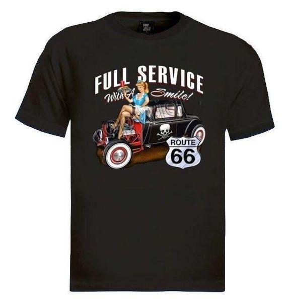 T-shirt Route 66 à service complet avec une fille pin-up souriante, serveuse hot rod, en T-shirt décontracté pour hommes