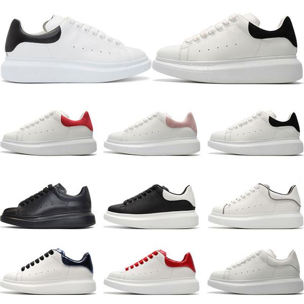 Großhandel Alexander McQueen Hot Mens Designer Schuhe 3M Reflektierende Weiße Leder Freizeitschuhe Mädchen Frauen Schwarz Rot Rosa Mode Komfortable