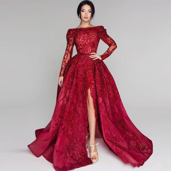 Dark Red Bateau Long Sleeves Prom Dresses Long Beads Lace Sequins Shinning Front Split Evening Dress Lace Red Caeprt Party Gowns Vestidos