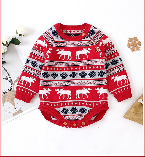 Chirstmas baby Boys romper INS Autumn infant girls xmas reindeer snow knitted jumpsuits Toddler stripe long sleeve Onesie