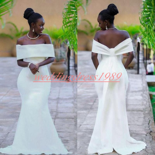 Modest Mermaid Nigerian Evening Dresses 2019 Newest Bateau Neck Satin Cheap African Prom Dress Party Formal Special Occasion Pageant Gowns