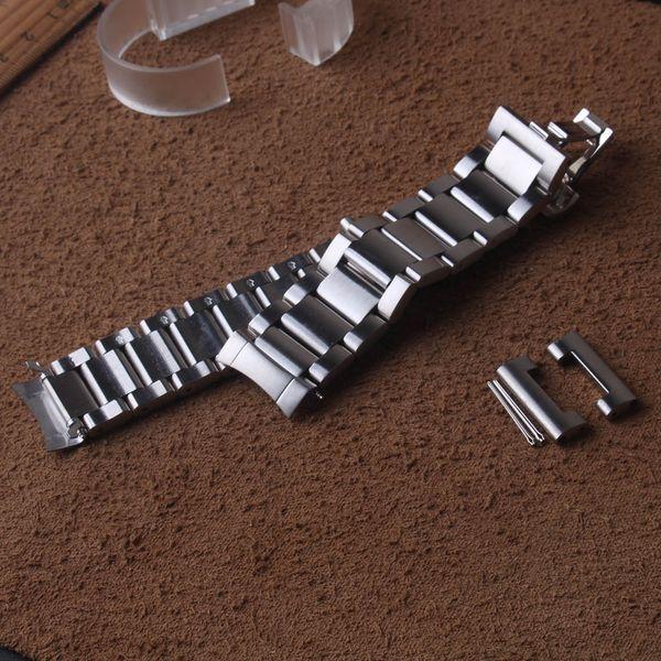 Pulseira de aço inoxidável curvo extremidades para samsung galaxy watch 46mm engrenagem s3 pulseira acessórios do relógio de pulso 22mm de metal prateado
