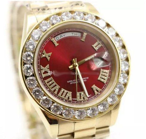 Роскошные мужские часы Gold President Day-Date Diamonds Watch Men нержавеющая перламутр Diamond Bezel автоматические наручные часы