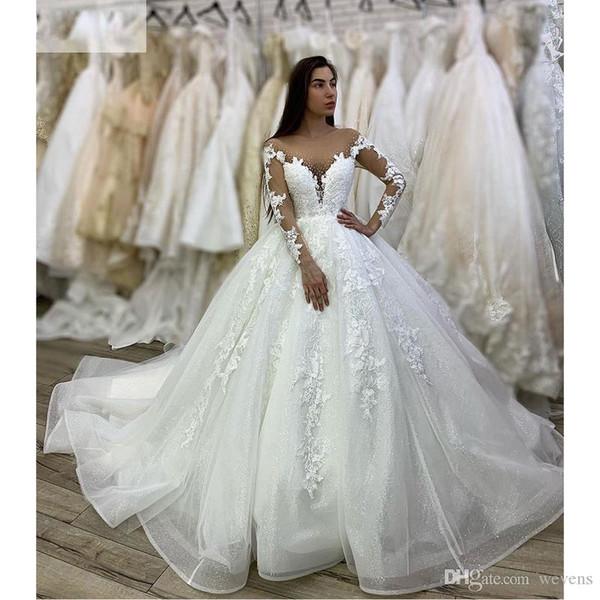 Sheer elegante cuello de boda encantador blanco de vestidos de manga larga con lentejuelas tul Apliques de cuentas de encaje princesa vestido de novia Vestidos de mariée