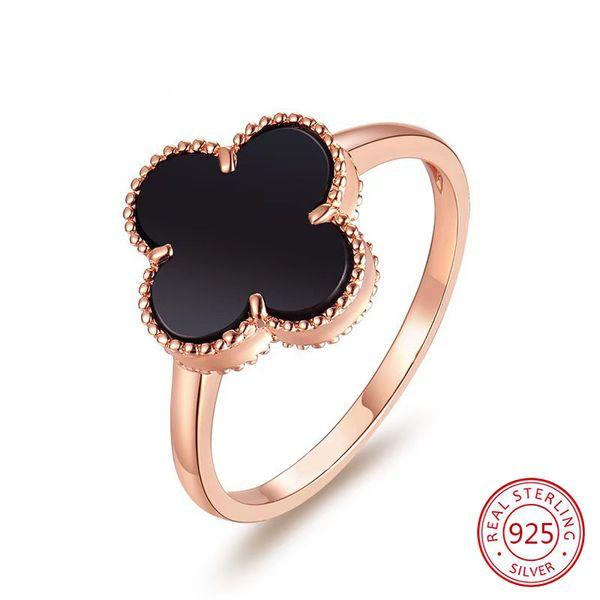 S925 Sterling Silber dieser Ring beliebte Vier-Blatt-Verschluss Ring glückliche Pflanzenfresser Ringöffnung Design Weihnachtsgeschenk 2019 neue heiße