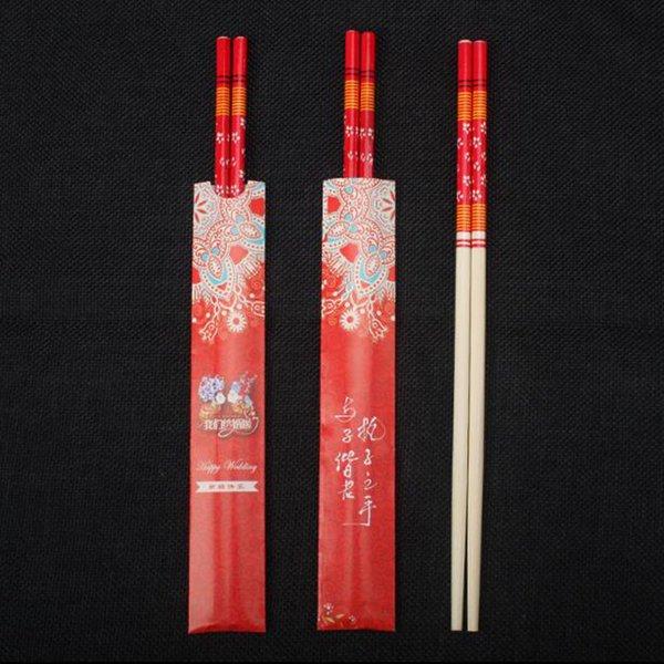 Palillos de bambú para el presente juego de cena Diseño clásico Rojo chino Palillos Regalo de boda envuelto individualmente ZC0332