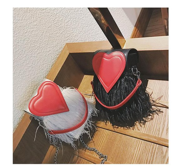 Black White Women Pu Shoulder bags Casual Lady Chain Tassel bags Heart Fashion Thanksgiving Day Hasp phone Bags Free SHIPPING