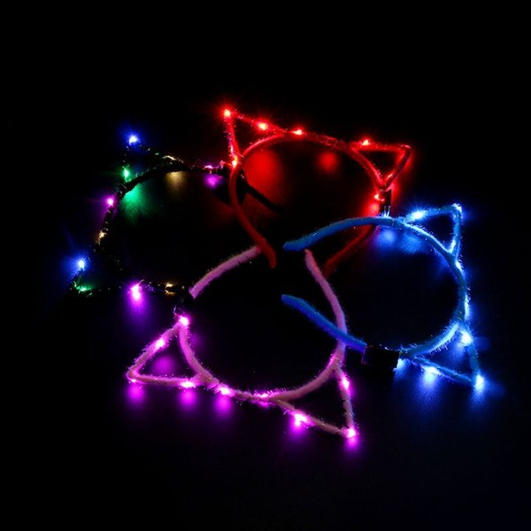 1Pc Women Girls LED Flashing Cute Pointed Cat Ears Hair Hoop Glowing String Lights Plush Cloth Wrapped Headband Party Supplies R