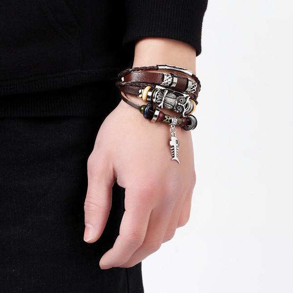 2019 Vintage Multilayer Leather Bracelet men Owl Peace Leaf fatima Hand Charms bracelets Wrap Rope Wristbands Adjustable