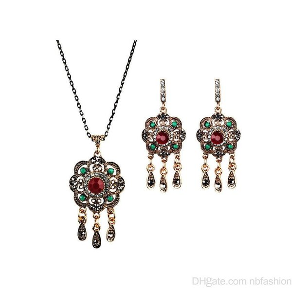 Wish New Pattern Heat Sell High Archives Nation Wind Fashion Alloy Posimi Second Tassels Flower Necklace Earrings Suit