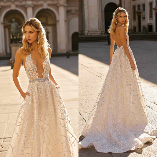 Berta 2020 Beach Wedding Dresses Plus Size Lace Sequined Halter Neck Bridal Gowns Crystals Backless Sweep Train robes de mariée